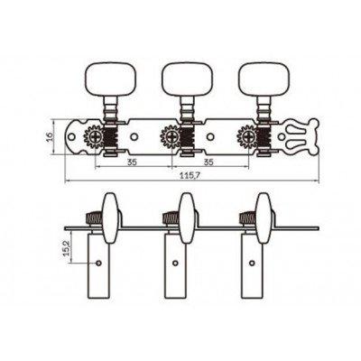Set meccaniche L1+R1 per chitarra classica | Nichel