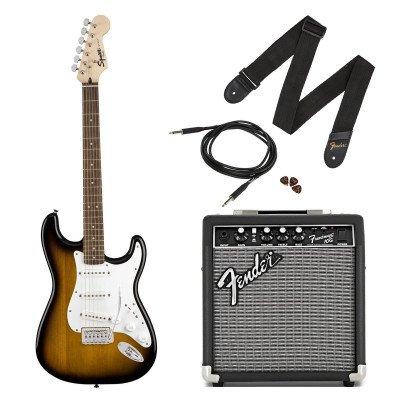 Fender Squier Stratocaster Pack SSS con amplificatore Frontman Brown Sunburst